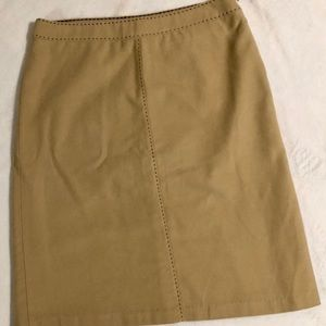 Gap Tan w/ brown stitching faux suede A-line skirt